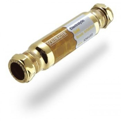 Scalemaster 28mm Electrolytic Gold in-line Limescale Inhibitor (28mm Compression)