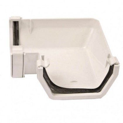 112mm Square Rainwater Gutter 90 Degree Angle White