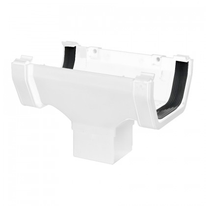 Square Rainwater 112mm Gutter Running Outlet White Rs205