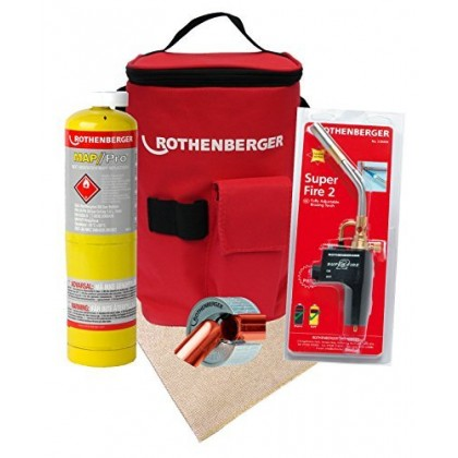 Rothenberger Hotbag Deal Kit Includes Superfire 2 Torch, 15mm Pipeslice, Soldering Mat, Map Gas And Carry Bag